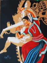 Expressionist Oil Art Painting title 'THE DIVINE DANCE OF ODISSI' by artist RAGUNATH