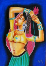 QUEEN WITH LOTUS | Painting by artist RAGUNATH | oil | Canvas