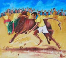 Realistic Oil Art Painting title 'NO MORE JALLIKATTU IN INDIA' by artist RAGUNATH