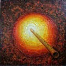Religious Acrylic Art Painting title 'Bansi' by artist Rakhi Baid