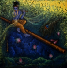 Religious Oil Art Painting title 'Lord Krishna' by artist Rakhi Baid