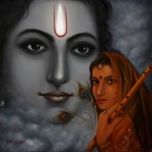 Religious Oil Art Painting title 'Radha Krishna' by artist Rakhi Baid