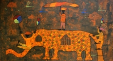 Figurative Acrylic Art Painting title 'From village to the virtual world' by artist Lakhan Singh Jat