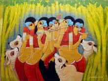 Pallavi Walunj | Oil Painting title Krishna Lila on Canvas | Artist Pallavi Walunj Gallery | ArtZolo.com