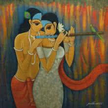 Figurative Oil Art Painting title Radha Krishna II by artist Pallavi Walunj