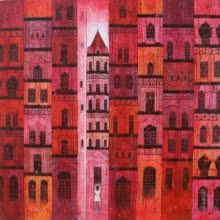 Cityscape Acrylic Art Painting title 'Red City' by artist Suresh Gulage