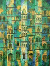 Green Yellow City | Painting by artist Suresh Gulage | acrylic | Canvas