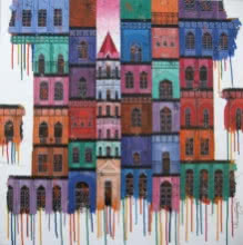 Suresh Gulage | Acrylic Painting title City with reflection 8 on Canvas | Artist Suresh Gulage Gallery | ArtZolo.com
