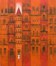 Cityscape Acrylic Art Painting title 'Orange City' by artist Suresh Gulage