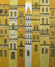 Yellow City | Painting by artist Suresh Gulage | acrylic | Canvas