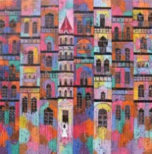 Suresh Gulage | Acrylic Painting title City 18 on Canvas | Artist Suresh Gulage Gallery | ArtZolo.com