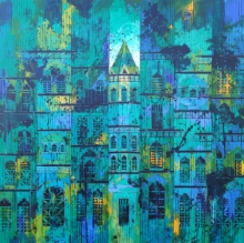 Cityscape Acrylic Art Painting title Blue Green City by artist Suresh Gulage