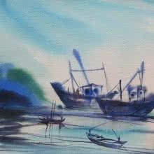 Seascape Watercolor Art Painting title 'Ocean moods 18' by artist Sunil Kale
