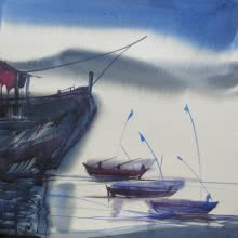 Seascape Watercolor Art Painting title Ocean moods 19 by artist Sunil Kale