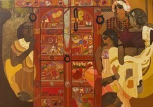 Figurative Acrylic Art Painting title Door 8 by artist Siddharth Shingade