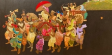 Religious Acrylic Art Painting title Procession Series 1 by artist Siddharth Shingade