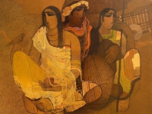 Figurative Acrylic Art Painting title 'Village 5' by artist Siddharth Shingade