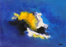 Blue Ride I | Painting by artist Sadhna Raddi | acrylic | Paper