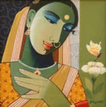 Indian Woman I | Painting by artist Agacharya A | acrylic | Canvas