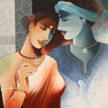 Figurative Acrylic Art Painting title Couple 2 by artist Agacharya A