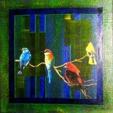 Figurative Mixed-media Art Painting title 'Four Birds' by artist Parul V Mehta