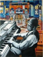 Figurative Oil Art Painting title 'Jazz1' by artist Parul V Mehta