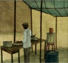 The Food Stall | Painting by artist Gulab Kapadiya | watercolor | Paper