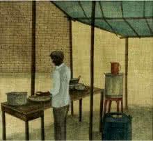 The Food Stall | Painting by artist Gulab Kapadiya | watercolor | Paper