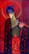 Ram Onkar | Mixed-media Painting title Krishna With Flute Red on Canvas | Artist Ram Onkar Gallery | ArtZolo.com