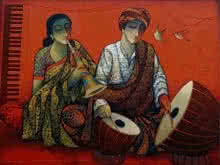 Ram Onkar | Mixed-media Painting title Musician Couple II on Canvas | Artist Ram Onkar Gallery | ArtZolo.com