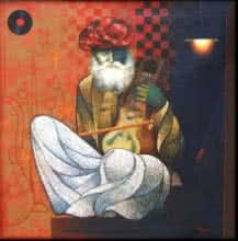 Old Musician | Painting by artist Ram Onkar | mixed-media | Canvas