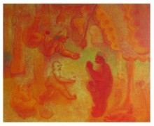 PRAYING FOR CHILD | Painting by artist Shiv Kumar Swami | acrylic | Canvas