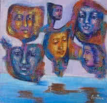 contemporary Acrylic Art Painting title 'Are we connected' by artist Purnima Gupta