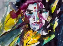 Portrait Watercolor Art Painting title 'Pichaya' by artist Veronique Piaser-moyen