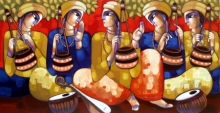 Figurative Acrylic Art Painting title 'Bengali Tune' by artist Sekhar Roy