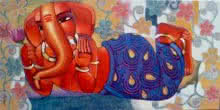 Ganesha 4 | Painting by artist Sekhar Roy | acrylic | canvas