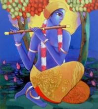 Religious Acrylic Art Painting title 'Krishna 3' by artist Sekhar Roy