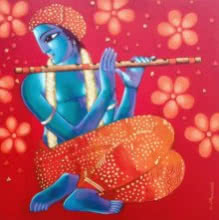 Krishna 6 | Painting by artist Sekhar Roy | acrylic | canvas