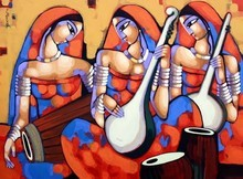 Figurative Acrylic Art Painting title 'Symphony 3' by artist Sekhar Roy