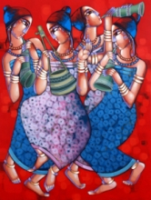 Figurative Acrylic Art Painting title Symphony Of Happines 2 by artist Sekhar Roy