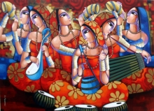 Figurative Acrylic Art Painting title 'Tune Of Bengal' by artist Sekhar Roy