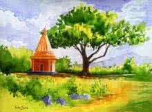 Landscape Watercolor Art Painting title Temple by artist Rahul Salve