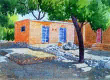 Landscape Watercolor Art Painting title Village House by artist Rahul Salve