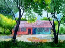 Rahul Salve | Watercolor Painting title Village House on Paper | Artist Rahul Salve Gallery | ArtZolo.com
