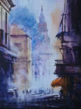 Narayan Shelke | Watercolor Painting title Cityscape V on Paper | Artist Narayan Shelke Gallery | ArtZolo.com