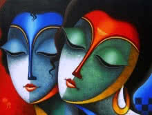 Santosh Chattopadhyay | Acrylic Painting title Relation 1 on Canvas | Artist Santosh Chattopadhyay Gallery | ArtZolo.com