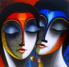 Santosh Chattopadhyay | Acrylic Painting title Relation 2 on Canvas | Artist Santosh Chattopadhyay Gallery | ArtZolo.com