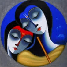 Religious Acrylic Art Painting title 'Rhythm Of Love' by artist Santosh Chattopadhyay