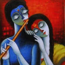 Santosh Chattopadhyay | Acrylic Painting title Symphony on Canvas | Artist Santosh Chattopadhyay Gallery | ArtZolo.com