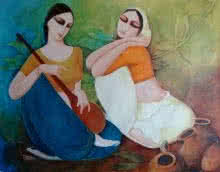 Kamal Devnath Paintings | Acrylic Painting - Saheli by artist Kamal Devnath | ArtZolo.com